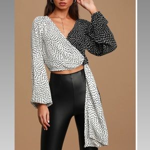 Lulu's Black and White Long Sleeve Wrap Top
